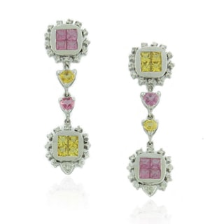 Suzy Levian 18k White Gold Pink and Yellow Sapphire Diamond One-of-a-Kind Earring