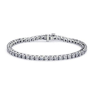 Suzy Levian 3 1/2 ct TDW 14K White Gold Diamond Tennis Bracelet (G-H, SI1-SI2)