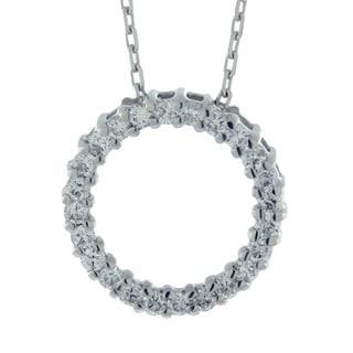 Suzy Levian 1/3 ct TDW 14k White Gold Diamond Circle Pendant (G-H, SI1-SI2)