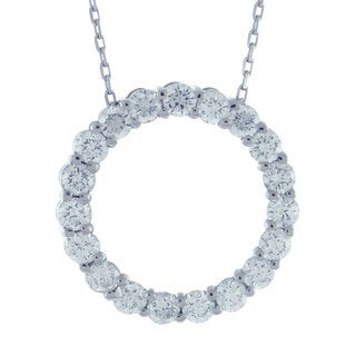 Suzy Levian 1 1/2 ct TDW 14k White Gold Diamond Circle Pendant (G-H, SI1-SI2)