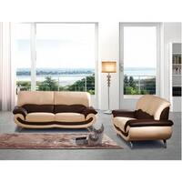 Luca Home Beige-Brown Sofa and Loveseat Set