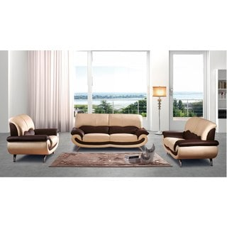 Luca Home Beige Brown Sofa, Loveseat and Chair Set