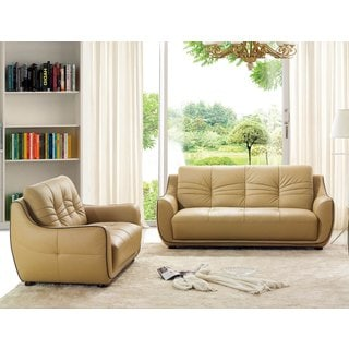 Luca Home Cappucino Sofa and Loveseat Set