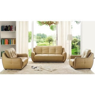 Luca Home Cappucino Sofa Loveseat and Chair Set