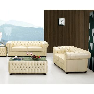 Luca Home Ivory Tufted Sofa and Loveseat Set