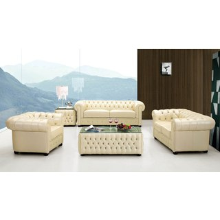 Luca Home Ivory Tufted Sofa, Love-seat and Chair Set
