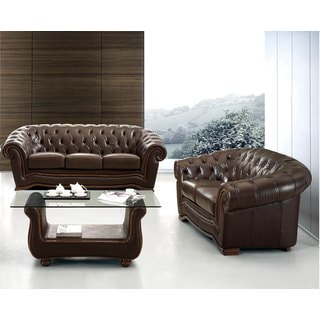 Luca Home Brown Italian Leather Sofa and Loveseat Set