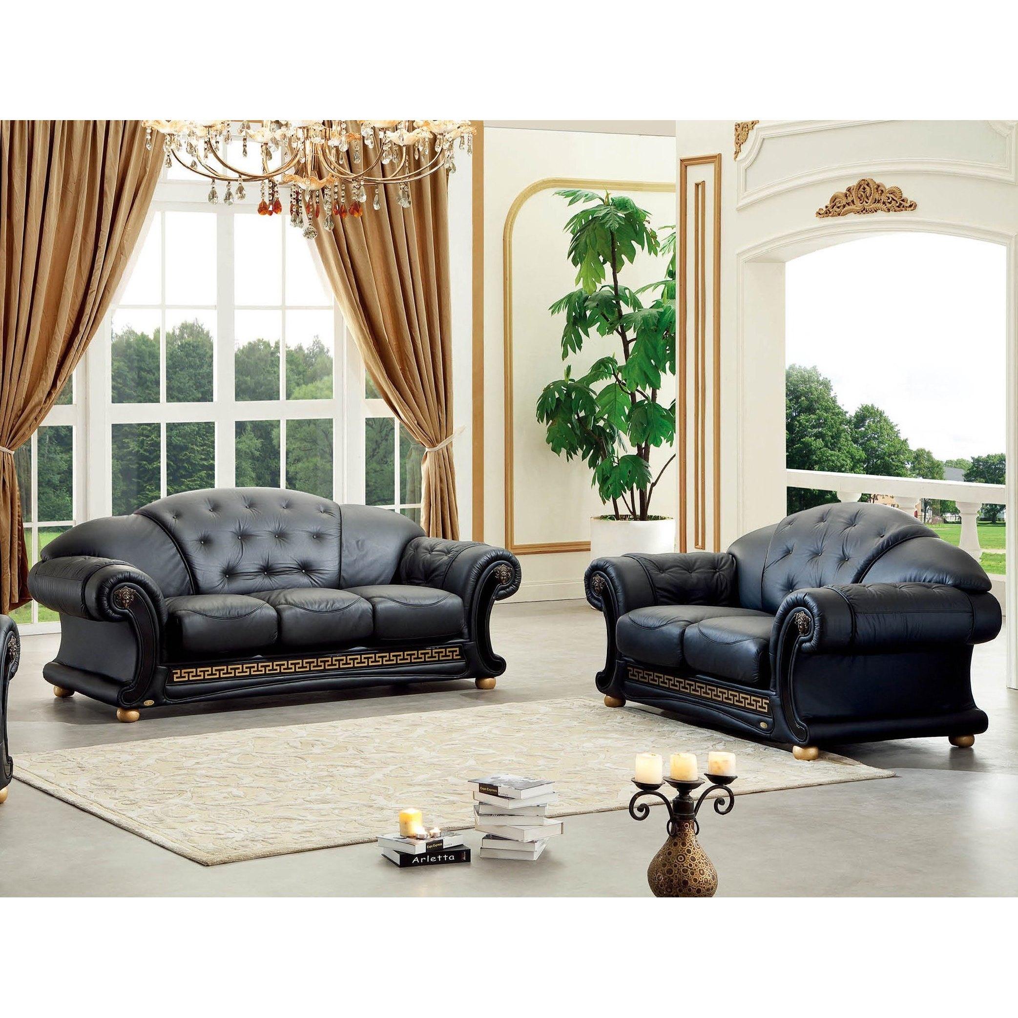 New Elegant Classic Luca Home Black Italian Bonded Leather Sofa And  Loveseat Set