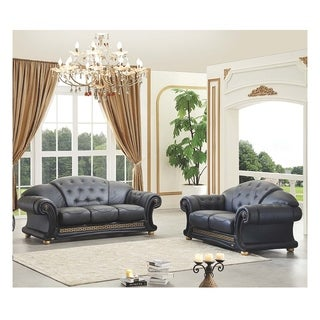 Luca Home Black Italian Leather Sofa and Loveseat Set