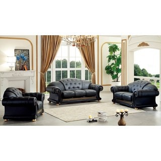 Luca Home Black Italian Leather Sofa, Loveseat and Chair Set