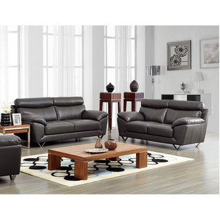 Luca Home Grey Leather Match Sofa and Loveseat Set