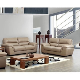 Luca Home Contemporary Beige Sofa and Loveseat Set