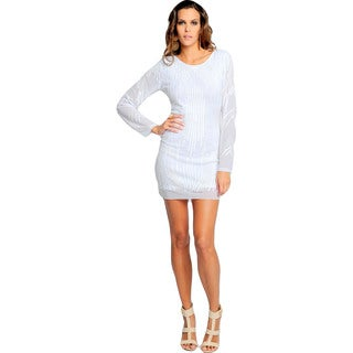Sara Boo White Long-Sleeve Backless Sequined Bodycon Dress