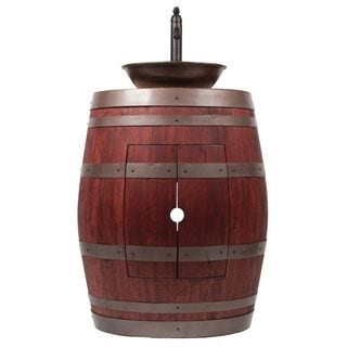 Premier Copper Products Wine Barrel Cabernet Finish Vanity Package with 15-inch Round Wired Rim Vessel Sink and Faucet