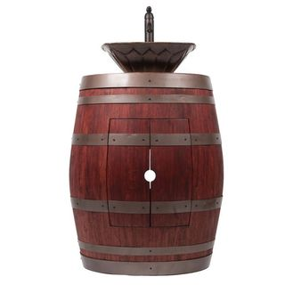 Premier Copper Products Wine Barrel Cabernet Finish Vanity Package with Square Feathered Vessel Copper Sink and Faucet