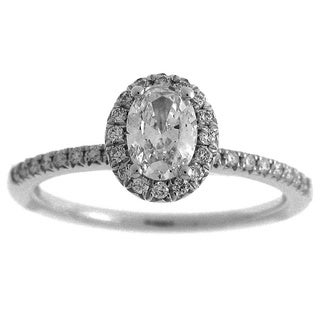 Azaro 14k White Gold 3/4ct TDW Diamond Oval Halo Engagement Ring (G-H, SI2-I1)