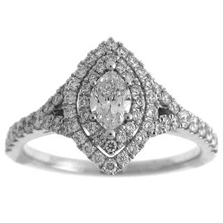 Azaro 14k White Gold 7/8ct TDW Marquise Diamond Double Halo Engagement Ring (G-H, SI2-I1)