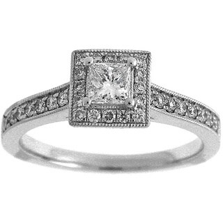 Azaro 14k White Gold 3/5ct TDW Diamond Princess Cut Halo Engagement Ring (G-H, SI2-I1)