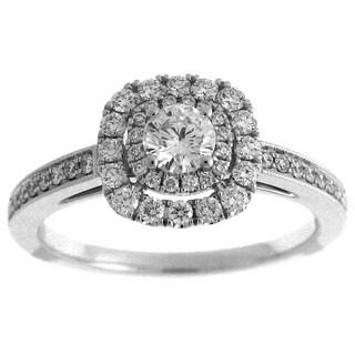 Azaro 14k White Gold 3/5ct TDW Diamond Round Double Halo Engagement Ring (G-H, SI2-I1)