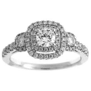 Azaro 14k White Gold 7/8ct TDW Diamond Round Double Halo Engagement Ring (G-H, SI2-I1)