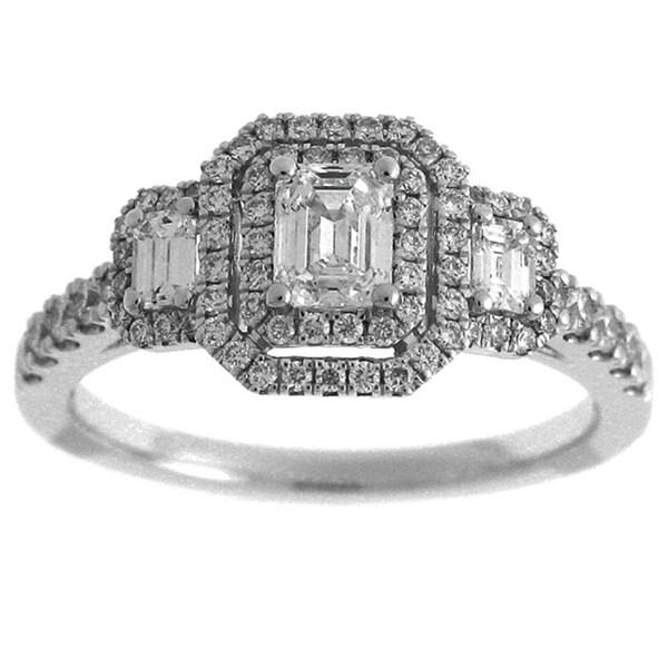 Azaro 14k White Gold 1ct TDW Diamond Emerald Cut Double Halo Engagement Ring