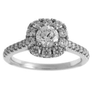 Azaro 14k White Gold 1 1/5ct TDW Diamond Round Halo Engagement Ring (G-H, SI2-I1)