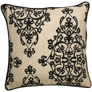 Tribal Pattern Gray/Ivory Linen Blend Throw Pillow 20 inch