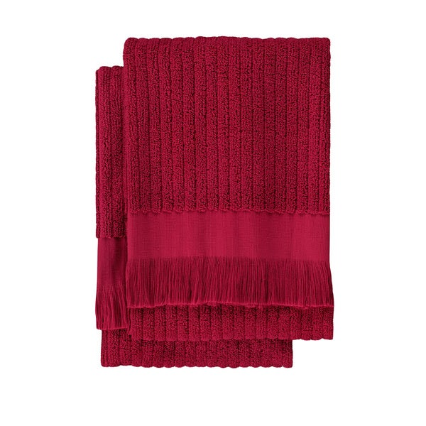 Cranberry Ribbed Hand Towel (set of 2)