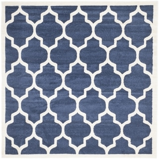 Safavieh Indoor/ Outdoor Amherst Navy/ Beige Rug (9' x 9' Square)