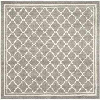 Safavieh Indoor/ Outdoor Amherst Dark Grey/ Beige Rug - 9' Square