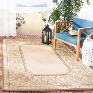 Safavieh Indoor/ Outdoor Courtyard Natural/ Chocolate Rug (6'7 Square)