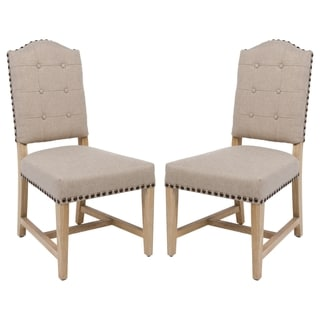 Safavieh Couture High Line Collection Penny Alder Beige Linen Side Chairs (Set of 2)