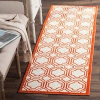 "Safavieh Indoor/ Outdoor Amherst Ivory/ Orange Rug - 2'3"" x 9'"