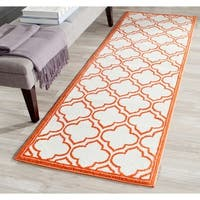 Safavieh Indoor/ Outdoor Amherst Ivory/ Orange Rug - 2'3 x 9'