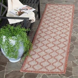 Safavieh Indoor/ Outdoor Courtyard Red/ Beige Rug (2'3 x 8')