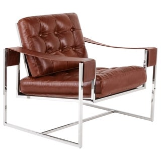 Safavieh Couture High Line Collection Grange Vintage Dark Brown Leather Club Chair