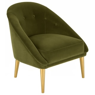 Safavieh Couture High Line Collection Hopkins Pine Dark Olive Green Velvet Club Chair