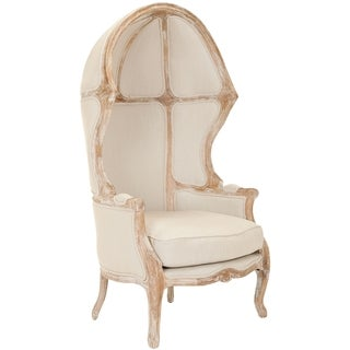 Safavieh Couture High Line Collection Sabine Oak Natural Linen Chair