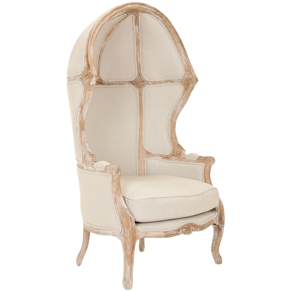 Safavieh Couture High Line Collection Sabine Oak Natural Linen Victorian Balloon  Chair