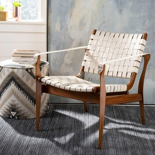 Safavieh Couture High Line Collection Dilan Mahogany Cream Leather Safari Chair