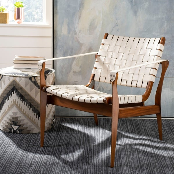 Safavieh Couture High Line Collection Dilan Mahogany Cream Leather Safari Bandelier Chair