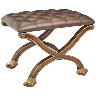 Safavieh Couture Collection Ermin Acacia Walnut Leather Club Ottoman