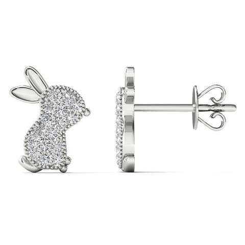 AALILLY 10k White Gold 1/10ct TDW Diamond Rabbit Stud Earrings