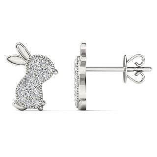 AALILLY 10k White Gold 1/10ct TDW Diamond Rabbit Stud Earrings (H-I, I1-I2)
