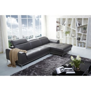 Safavieh Couture High Line Collection Merton Right Facing Stainless Steel Taupe Leather Sectional