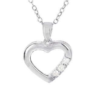 H Star Sterling Silver Three Stone Diamond Accent Heart Pendant
