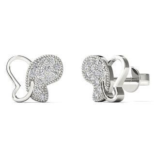 10k White Gold Diamond Accent Butterfly Stud Earrings (H-I, I1-I2)
