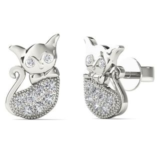 AALILLY 10k White Gold Diamond Accent Cat Stud Earrings
