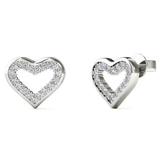 10k White Gold 1/10ct TDW Diamond Open Heart Stud Earrings (H-I, I1-I2)
