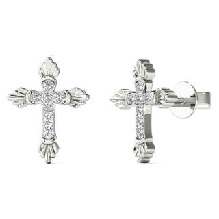10k White Gold Diamond Accent Cross Stud Earrings (H-I, I1-I2)